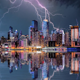 New York Storm by Dominic Wade - City,  Street & Park  Skylines ( water, reflection, america, thunderstorm, adobe photoshop, new york, cityscape, landscape, storm, topaz labs, city, urban, lightning, buildings )