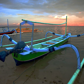 Surfer's Boats by JNJ PhotoStream - Transportation Boats ( bali, sunset, indonesia, boats, sanur, cloud, weather )