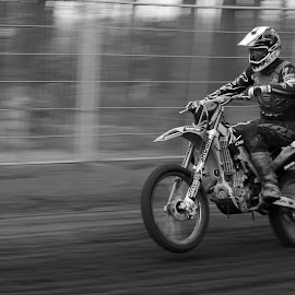Lift by Gerd Moors - Sports & Fitness Motorsports ( fence, panning, speed, black and white, shutter, mx,  )