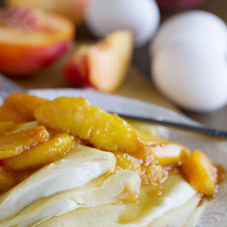 Simple Crepe Recipe with Peaches and Cream