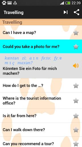 English - German phrasebook - screenshot