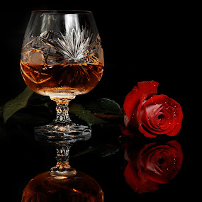 Brandy and Red Rose by Cristobal Garciaferro Rubio - Food & Drink Alcohol & Drinks ( cup, cups, petals, drop, glass, cognac, drops, brancy, red rose )