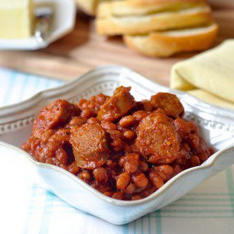 Maple Baked Beans with Apple Sausage