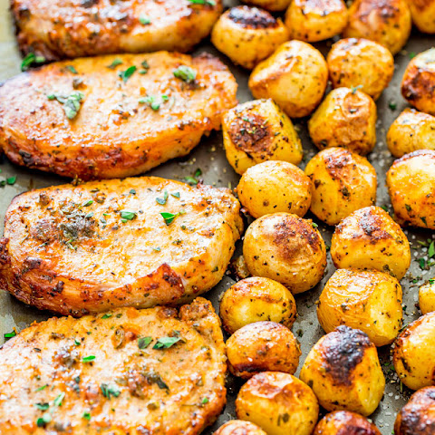 Ranch Pork Chops and Potatoes Sheet Pan Dinner