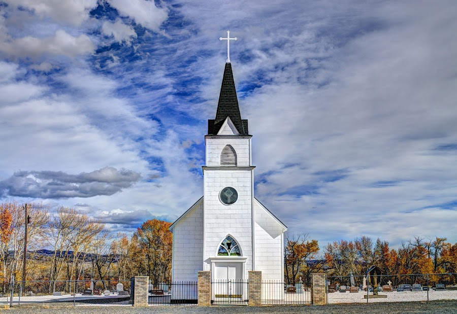 Little town church by Barry Houser - Buildings & Architecture Places of Worship ( steeple, church, montana, worship, rural, country )