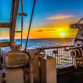 Sunset by Richard Simpson - Transportation Boats ( setting sun, irish sea, ferry, ship, sunsets, sunset, ferries, sea, seascape )