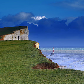 Beachyhead Eastbourne by Becky Wheller - Landscapes Travel ( lighthouse, sky.cliff, beach, eastbourne )