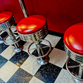 Pub Patterns by Barbara Brock - Artistic Objects Furniture ( lunch room stools, black and white flooring, cafe stools, checkerboard floor, cafe, red stools, bar stools )