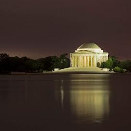Jefferson Memorial at night by Jack Nevitt - Buildings & Architecture Statues & Monuments ( washington dc, jefferson, night, memorial, thomas, tidal basin )