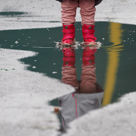 Jump. by Ólafur Ingi Ólafsson - City,  Street & Park  Neighborhoods ( water, reflection, iceland, red, street, reflections, yellow )
