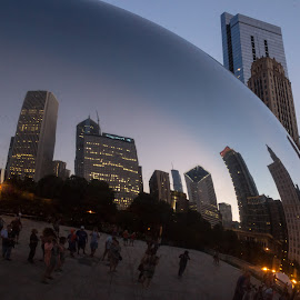 A Unique View by Sheryl Mayhew Smith - City,  Street & Park  City Parks ( mirrors, chicacoland, illinois, skyscrapers, chitown, midwest, big city, blueglass, windy city, artchitecture, millennium park, buildings, glass, chicago, downtown )
