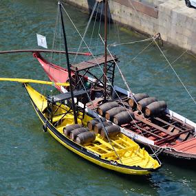 Wine Boats, Porto, Portugal by Jim Schlett - Transportation Boats ( wine, colorful, vineyards, boats, portugal, boat, porto,  )