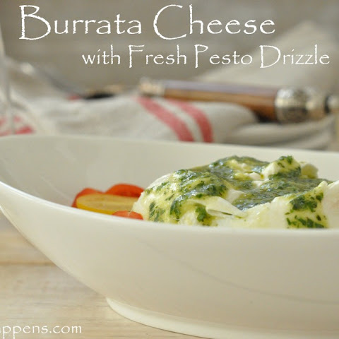 Burrata Cheese with Fresh Pesto Drizzle Appetizer