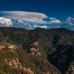 South Annapurna & Machapuchre by Vorravut Thanareukchai - Landscapes Mountains & Hills ( field, himalayan, mountain, tree, grass, annapurna, landscape, fishtail, nepal )