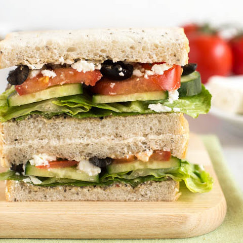 Greek Salad Sandwich With Black Olive Hummus