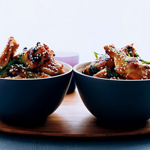 Sticky Sesame Chicken with Sweet and Sour Glazed Eggplant