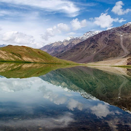 The Natural Mirror by Ajay Kumar - Landscapes Mountains & Hills ( spiti, mirror reflection, india, chandrataal, himachal )