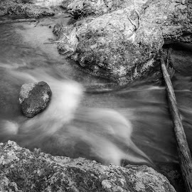 Paulina Creek by Gary Piazza - Nature Up Close Water ( water, paulina creek, waterfalls, desert, black and white, creek )