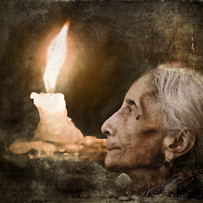 Me and my loneliness by Sagar Lahiri - Digital Art Things ( sopnomakha_photo, candle, pwcfire-dq, sagarlahiri, lonely, old woman portrait,  )