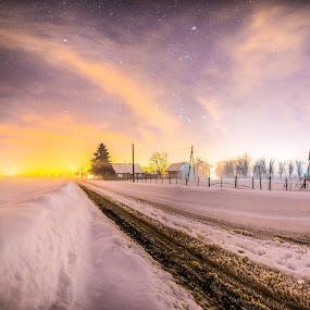 Snow and Mist by Srdjan Vujmilovic - Public Holidays Christmas ( astrography, winter, tree, night photography, winter nights, night scene, stars, snow, path, snowy, night, house, road, mist,  )