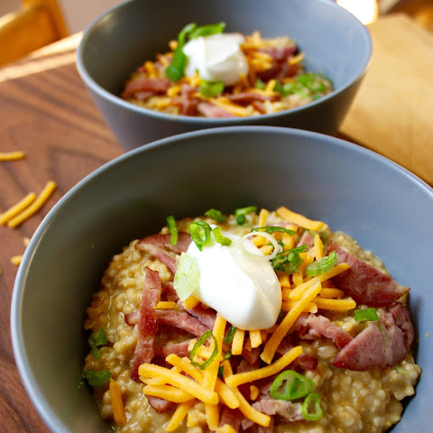 Savory Irish Oats with Turkey Bacon, Cheddar, and Chives
