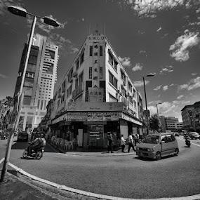 by Siew Jun Han - City,  Street & Park  Street Scenes ( shops, street, white, malaysia, wide, sibu, sarawak, black, borneo )