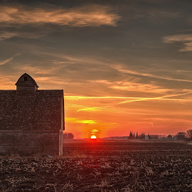 burning down by Chad Heggen - Landscapes Sunsets & Sunrises ( field, farm, barn, dust, shingles, gravelroad, rural, country )