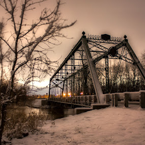Snowy Bridge by Aaron Rigsby - Landscapes Weather ( snowy, bridge )