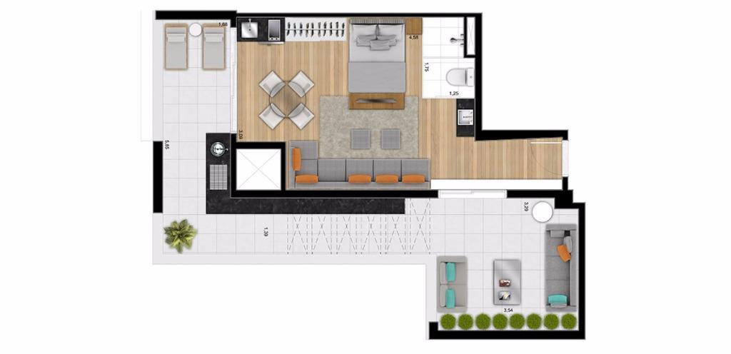 Planta UpHouse 65 m²