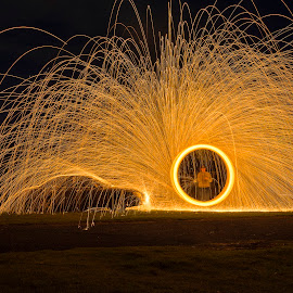 Last Ride by Bayden Ellison - Abstract Light Painting ( car, steel wool, nighttime, hot, bayden b ellison studio, fire )
