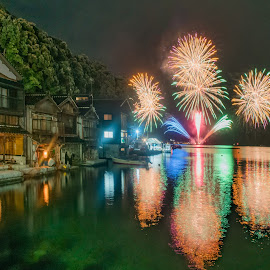 Fireworks Fishing village by Carol Tan - City,  Street & Park  Night ( #water, #fishing, #village, #fireworks, #inenofunaya, #sea, #japan,  )