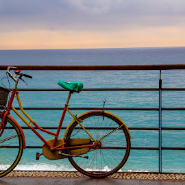 Bicycle by Vincent Foo - Transportation Bicycles ( sea, ocean, ocean view, colours, bicycle )