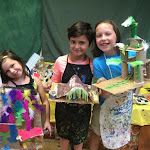 Girls with their 'Fairy Houses' built during Summer Camps at My Art Shed