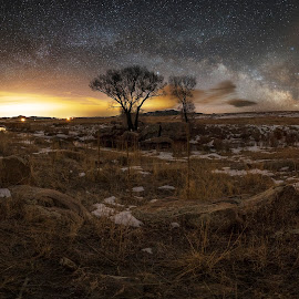 A Big Old Mess by Max Moorman - Landscapes Starscapes ( milkyway, mountain, milky way, nightscape, lights, mountains, dawn, tree, night photography, blue, stars, trees, long exposure, night, light )
