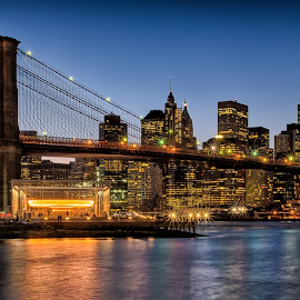 View from Brooklyn Bridge Park by Kim Cochrane - City,  Street & Park  Skylines ( skyline, cities, mahattan, new york, bridges, brooklyn, river,  )