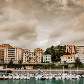 Yachts and Appartments in Italy by Jacques Jacobsz - Landscapes Travel ( water, clouds, old, europe, docked, harbour, sea, scenic, landscape, apartments, yachts, many, city scape, urban, sky, suburb, cramped, lifestyle, mediterranean, scene, several, town, view, italy, high-rises )