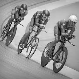 by Lee Sutton - Sports & Fitness Cycling ( monochrome, cycling, black & white, veladrome, people )