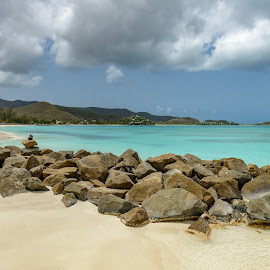 Tropical beach at Antigua island in Caribbean with white sand, t by Jan Gorzynik - Landscapes Beaches ( shore, mountain, getaway, copyspace, ocean, beach, seaside, landscape, coastline, exotic, caribbean, coast, island, sky, nature, idyllic, rocks, water, sand, antigua, lagoon, beautiful, white, horizon, sea, barbuda, seascape, scenic, paradise, destination, holiday, vacation, turquoise, blue, bay, outdoor, wave, jolly, turners, day, scenery )