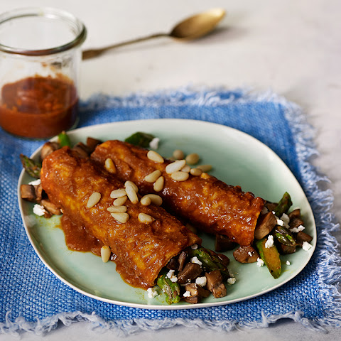Asparagus, Mushroom & Goat Cheese Enchiladas with Pine Nut Mole Sauce
