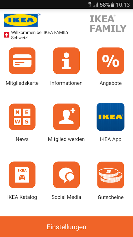 IKEA FAMILY Schweiz Screenshot