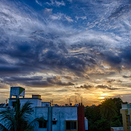 Clouds play at sunset by Tamal Das - Landscapes Cloud Formations ( kolkata, cloud, cityscape, skyscape )