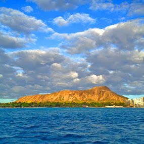 Diamond Head by Leimaile Guerrero - Landscapes Waterscapes ( clouds, diamondhead, ocean, island life, hawaii )