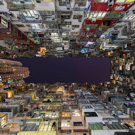 Looking up by Albert Dros - Buildings & Architecture Other Exteriors ( hong kong, packed, buildings, long exposure, night, architecture )