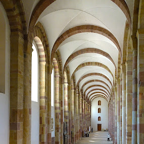 Arches by Dee Haun - Buildings & Architecture Other Interior ( vacancy, long hallway, emptyness, arches, columns, buildings, stone, architecture,  )
