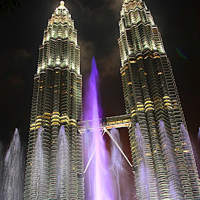 Colourful Night by Mohd Rashidin Ideres - Buildings & Architecture Other Exteriors ( suria klcc fountain, klcc, kl at night, water show, klcc at night )