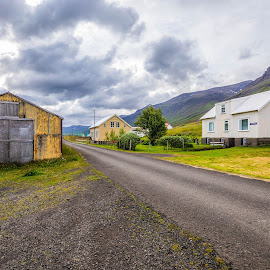 Village by Edvald Geirsson - City,  Street & Park  Neighborhoods ( mjóifjörður, iceland, village, house, summer )