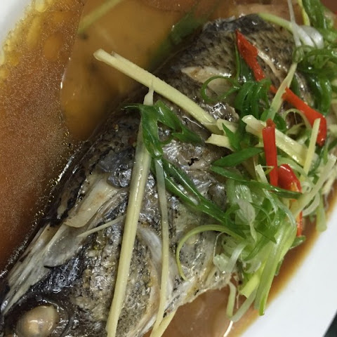 Whole Steamed Fish with Ginger Soya Sauce and Rice Wine Vinegar