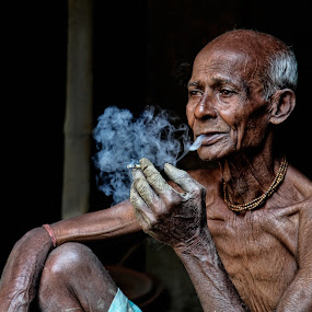 My Biri by Souvik Goswami - People Portraits of Men ( cigerrette, old faces, smoking men, peaple, aged )