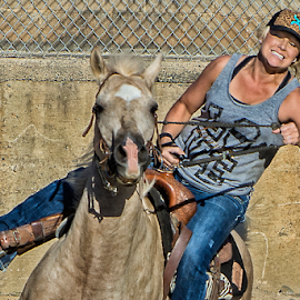 Blonde Barrel Racer 2 by Joe Saladino - Sports & Fitness Rodeo/Bull Riding ( blonde, barrel racer, horse, competiton, racer )