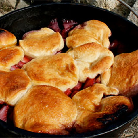 Dutch Oven Peach and Berry Cobbler